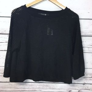 Forever 21 Tops - Forever 21 | NEW | sheer black patterned crop top